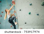 free climber young woman... | Shutterstock . vector #753917974