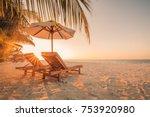 summer beach background. sand... | Shutterstock . vector #753920980