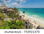 tulum  mexico   9 march  2016 ... | Shutterstock . vector #753921370