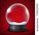 winter snow globe with red... | Shutterstock .eps vector #753922993