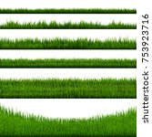 green grass border big... | Shutterstock .eps vector #753923716