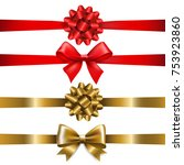 ribbon bow set with gradient... | Shutterstock .eps vector #753923860