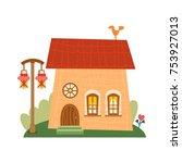 one of set of cute cartoon... | Shutterstock .eps vector #753927013