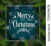 merry christmas vector card | Shutterstock .eps vector #753929878