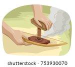 illustration of hands making... | Shutterstock .eps vector #753930070