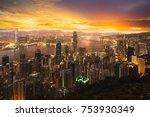 hong kong sunrise  view from...   Shutterstock . vector #753930349