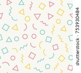 seamless memphis pattern with...   Shutterstock .eps vector #753930484