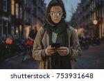 beautiful woman in stylish coat ... | Shutterstock . vector #753931648