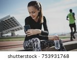 happy smiling athlete woman... | Shutterstock . vector #753931768