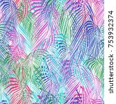 colorful abstract palm leaves ... | Shutterstock .eps vector #753932374