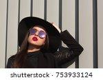 closeup portrait of young woman ... | Shutterstock . vector #753933124