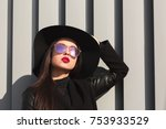 street portrait of fashionable... | Shutterstock . vector #753933529