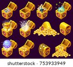 golden trophies in isometric... | Shutterstock .eps vector #753933949