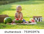 one year old little boy seating ... | Shutterstock . vector #753933976