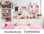 interior light grey kitchen and ... | Shutterstock . vector #753934450