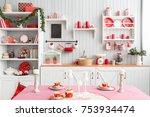 interior light grey kitchen and ...   Shutterstock . vector #753934474