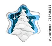 christmas tree in snowflake... | Shutterstock .eps vector #753936598