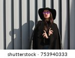 street portrait of fashionable... | Shutterstock . vector #753940333