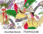 summer background with tropical ... | Shutterstock .eps vector #753942238