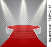 round podium with red carpet...   Shutterstock .eps vector #753942469