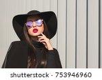 glamorous brunette woman in... | Shutterstock . vector #753946960