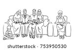 big family got together on the... | Shutterstock .eps vector #753950530