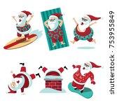 cartoon santa claus summer and... | Shutterstock .eps vector #753955849