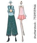 fashion model  women  posing ... | Shutterstock .eps vector #753955966