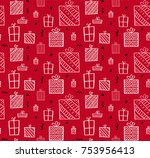 present seamless pattern.... | Shutterstock .eps vector #753956413