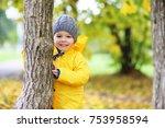 children in the autumn park... | Shutterstock . vector #753958594