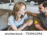 smiling young happy couple... | Shutterstock . vector #753961096