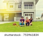 asian family playing together... | Shutterstock . vector #753961834