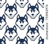 dog head seamless pattern....   Shutterstock .eps vector #753963976