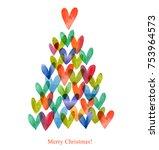 watercolor christmas card.... | Shutterstock . vector #753964573