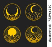 set of round badges with lotus  ... | Shutterstock .eps vector #753966160