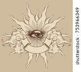 masonic symbol. seeing eye.... | Shutterstock .eps vector #753966349