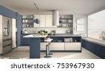 modern wooden kitchen with... | Shutterstock . vector #753967930