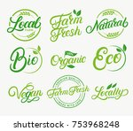 set of organic  local  farm... | Shutterstock .eps vector #753968248