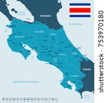 costa rica map and flag   high... | Shutterstock .eps vector #753970180