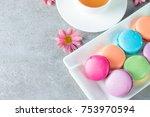 photo of cake macarons  gift... | Shutterstock . vector #753970594