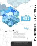 geometric cube graphic template ... | Shutterstock .eps vector #753978688