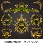 set of golden royal shields... | Shutterstock .eps vector #753979354