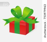 vector gift in 3d style. red... | Shutterstock .eps vector #753979963