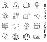 thin line icon set   share ... | Shutterstock .eps vector #753982618