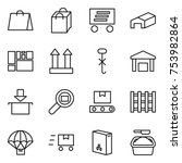thin line icon set   shopping... | Shutterstock .eps vector #753982864