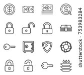 thin line icon set   dollar ... | Shutterstock .eps vector #753983284
