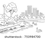 park lake graphic black white... | Shutterstock .eps vector #753984700