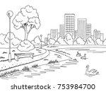 park lake graphic black white... | Shutterstock .eps vector #753984700