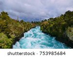 a stormy day at the huka falls...   Shutterstock . vector #753985684