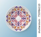 decorative plate with round... | Shutterstock .eps vector #753986110